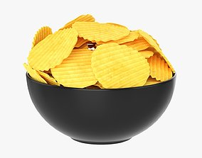 3D Potato chips in a bowl 01