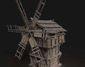 3D model Medieval Wooden Fantasy Viking Windmill Silo 2