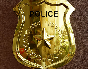 3D model Police Badge Low Poly with high quality texture