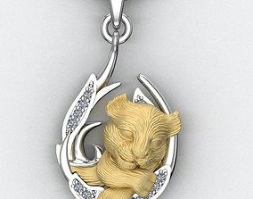 3D printable model pendant little lion cub sleeping