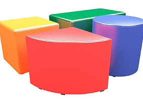 4 leather poufs with 10 colors 3D model game-ready