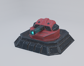 3D asset game-ready Sci-Fi Laser Turret