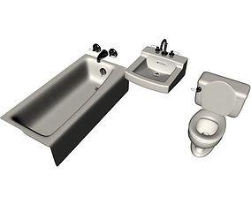 bathroom objects 3D model shower