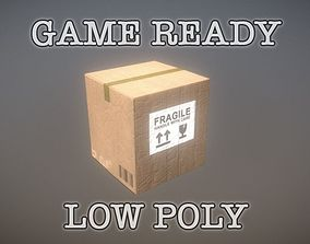 Cardboard Box 1x1x1 Plain and Fragile PBR Low 3D asset 2