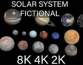 galactical 3D model PBR solar system and fictional planets