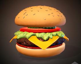 3D asset low-poly Hamburger