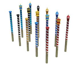 3D model Venitian Poles - Pali Da Casada - Low poly PBR