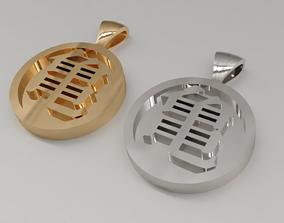 Kame kanji pendant 3D print model silver