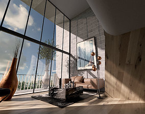 low-poly Modern Loft Living room interior 3D Model