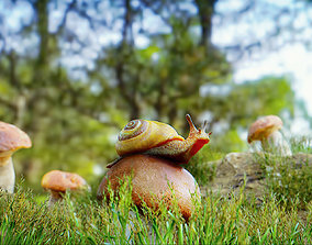 3D asset Forest Scene with Snail and Muchrooms