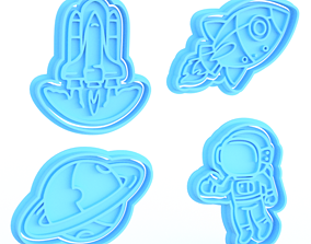 3D printable model Space cookie cutter set of 4