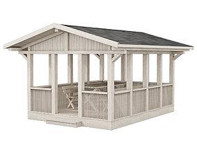 Garden Gazebo made of wood furniture 3D model