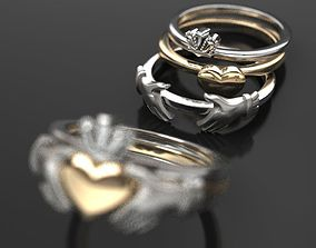 CLADDAGH 2 colors 3 part folding RING 3D printable model