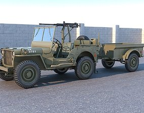 Willys MB with Machine gun 3D