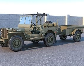 Willys MB with Machine gun 3D model