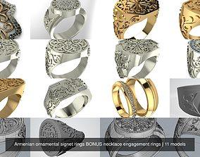 3D Armenian ornamental signet rings BONUS necklace 1