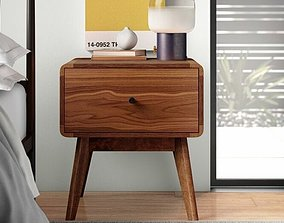 Tanya Mid-Century 1 Drawer Nightstand Walnut 3D model