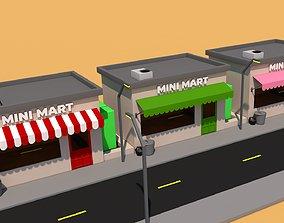 low-poly shop mini mart model 3D asset
