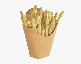 Fries french with fast food paper box 02 3D