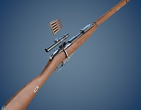 Mosin rifle with scope 3D model
