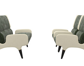 Cassina Leather and alcantara Sofa and Armchair 3D asset 2