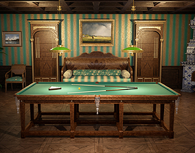 3D model game-ready RUSSIAN BILLIARD ROOM