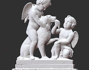children with the dog 3D print model