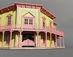 american wildwest cowboy saloon town building 3D model