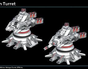 3D asset Minigun Turret