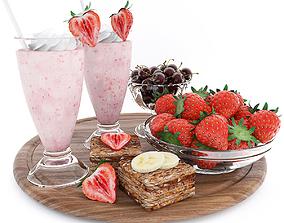 Strawberry summer set 3D model