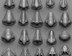 3D model 20 Noses with high poly and low poly
