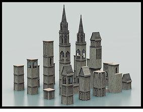Medieval Tower Kitbash 3D asset