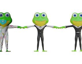 3D model Frog Family