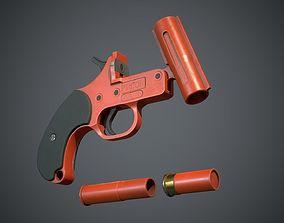 3D asset low-poly Flare Gun
