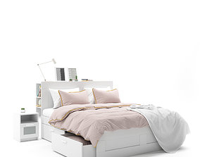 3D model Ikea Brimnes White Bed with Ikea Riggad Lamp