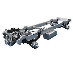 Chassis Truck With Engine 3D model construction