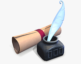 Ink and Paper Stylized lowpoly 3D asset