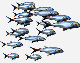 Animated Low Poly Art Flock Grey Sea Fish 3D asset