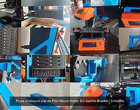 Prusa Enclosure Clip on PSU Mount Holder Ext 3D model 1