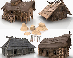 Stylized Fantasy Cartoon Viking Farm Builder 3D model
