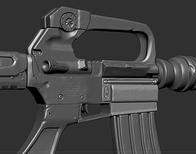 3D model M16 Rifle Game Ready and High Resolution Sculpt