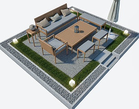 3D Garden furniture Set with umbrella garden