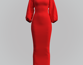 3D asset Female gown - Red dress