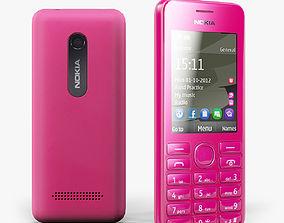 Nokia 206 Magenta 3D asset
