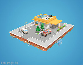 3D model Cartoon Car Service Building