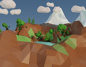 3D model game-ready low poly island