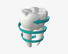 3D model Tooth molars with arrow 03