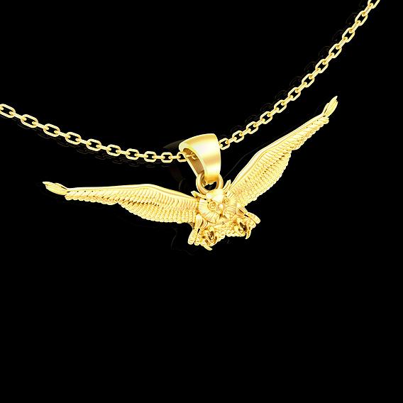 Horned owl flight pendant jewelry gold necklace 3D print model