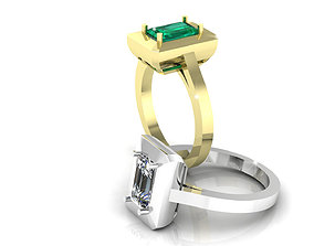 3D printable model Emerald Cut Gold Ring halo