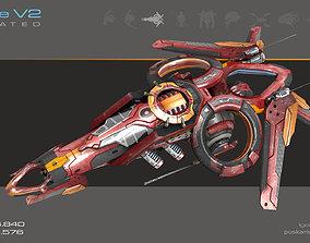Drone V2 Red Manga - Animated 3D model